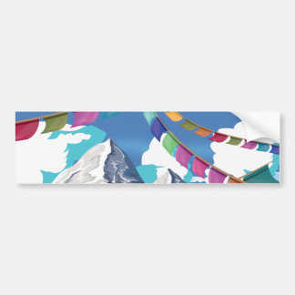 Nepal Himalayan Prayer Flags Travel poster Bumper Sticker