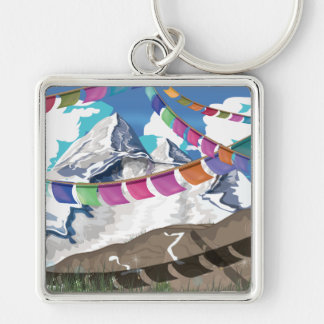 Nepal Himalayan Prayer Flags Travel poster Silver-Colored Square Key Ring