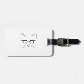 Nerd cat luggage tag