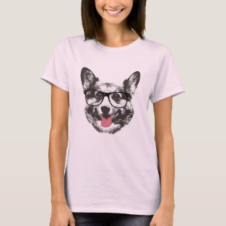 Nerdy Corgi Hipster Dog T-Shirt