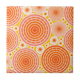 Nested wheels - orange and gold tile