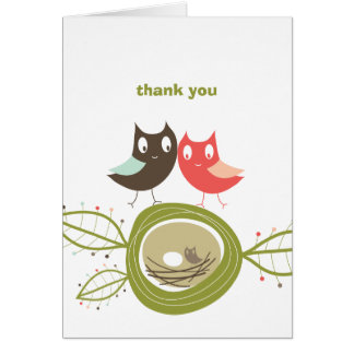 Nesting Owl Family Couple's Baby Shower Thank You Note Card