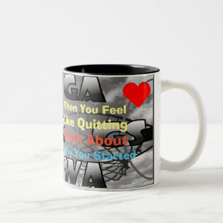 Netball Court Positions and Motivational Quote Two-Tone Coffee Mug