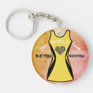 Netball Dress Theme Personalized Custom Colour Key Ring