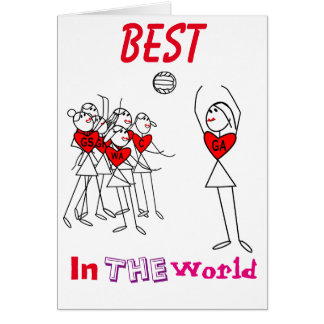 Netball Positions Stick Figures and Heart Card