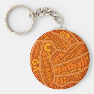 Netball Themed Orange Ball Design Key Ring