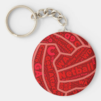 Netball Themed Red Typography Ball Design Key Ring