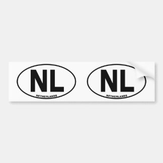 Netherlands NL Oval ID Identification Code Initial Bumper Sticker