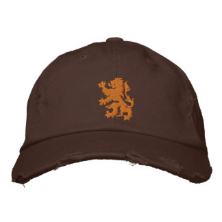 Netherlands Rampant Lion Distressed cap Embroidered Hat