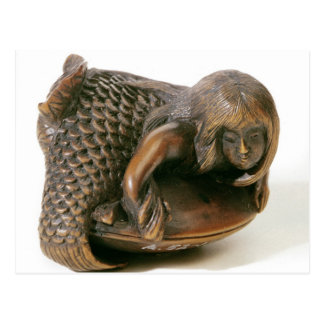 Netsuke carved in the shape of a mermaid postcard