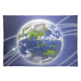 Network Lights Surrounding Earth 2 Placemat