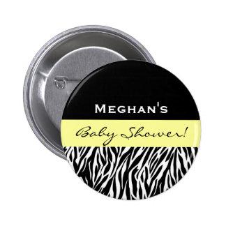 Neutral Baby Shower Modern Black White Zebra Pin