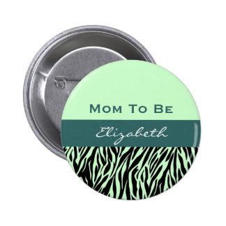 Neutral Baby Shower Modern Teal Green Zebra Pin