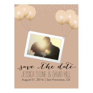 Neutral Balloons Custom Photo Save the Date Postcard