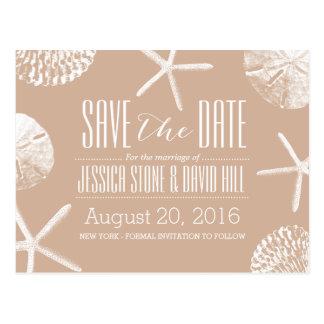 Neutral Beige Beach Theme Seashells Save the Date Postcard