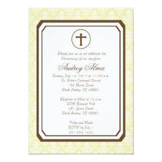 Neutral Elegant Christening Invitation - Yellow