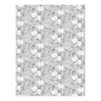 Neutral floral pattern light colors postcard