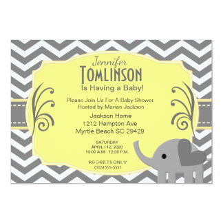 Neutral  Grey and Yellow Baby Shower Invitation