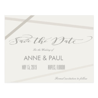 Neutral lines Save the Date Postcard