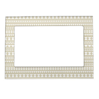 Neutral Tan Aztec Tribal Pattern Magnetic Picture Frame