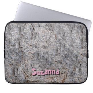 Neutral Tropical Tree Bark Photo with Custom Name Laptop Sleeve