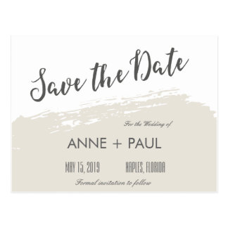 Neutral watercolor Save the Date Postcard