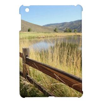 Nevada landscape with wood fence, lake, sky. case for the iPad mini