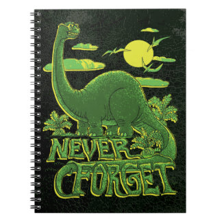 Never Forget Brontosaurus Dinosaur With Shades Spiral Notebooks