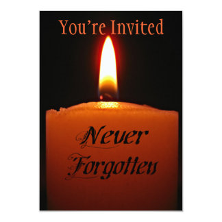 """Never Forgotten Remembrance Candle Flame 5"""" X 7"""" Invitation Card"""