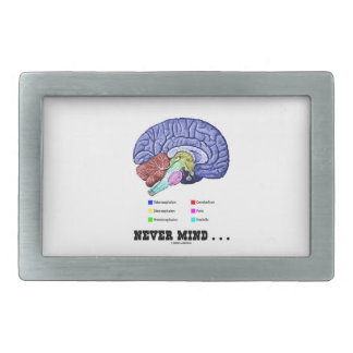 Never Mind ... (Brain Anatomy Psyche Humor) Rectangular Belt Buckles