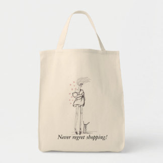 Never Regret Shopping! Grocery Tote Bag
