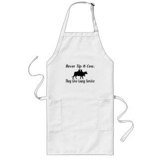 Never Tip A Cow Long Apron