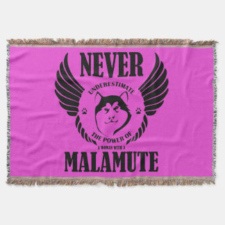Never Underestimate Malamute Throw Blanket