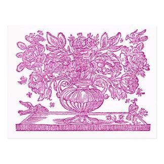 New Address Antique Floral Illustrations Postcard