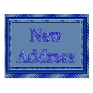 New address blue plaid postcard