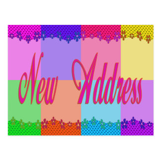 New Address colorful flowers Postcard