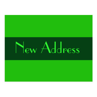 New address green postcard