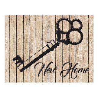 New Address Key on Rustic Wood Postcard