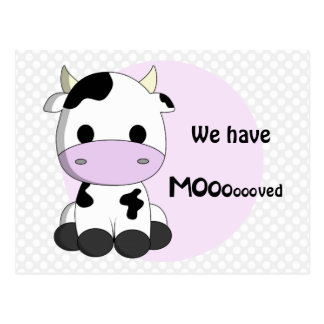 New address - moving cute cow notice postcard