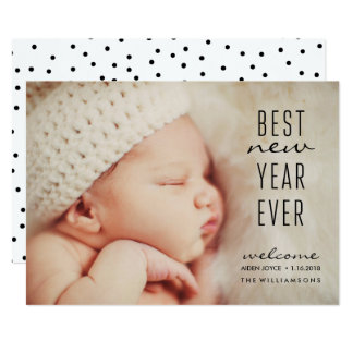 New Baby Best New Year Ever Modern Holiday Photo Card