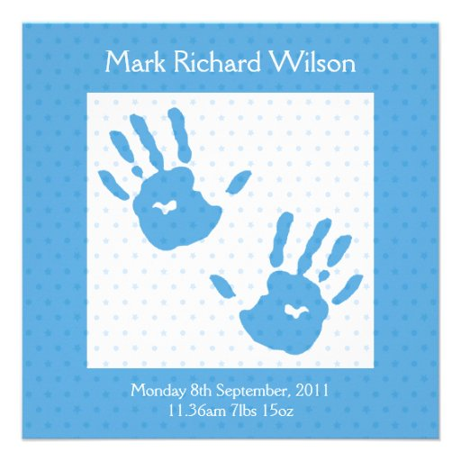 New Baby Boy announcement blue hand print