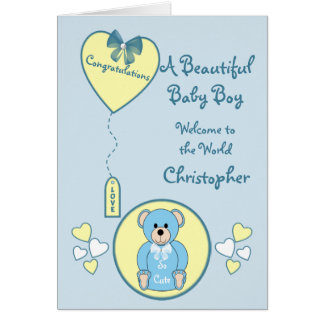 New Baby Boy Card blue teddy bear