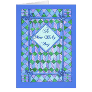 New Baby Boy Congratulations - Cot Quilt Greeting Card