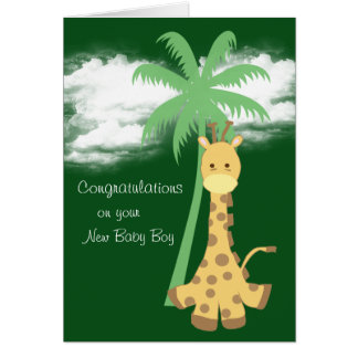 New baby boy congratulations dark green giraffe card