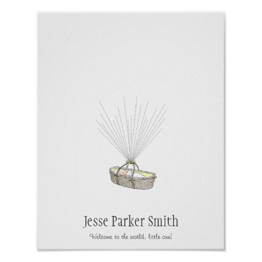 New Baby Fingerprint Balloon Guestbook - Yellow Posters