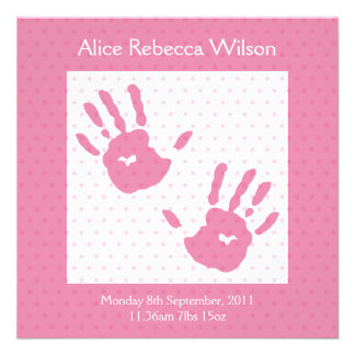 New Baby Girl announcement pink hand print