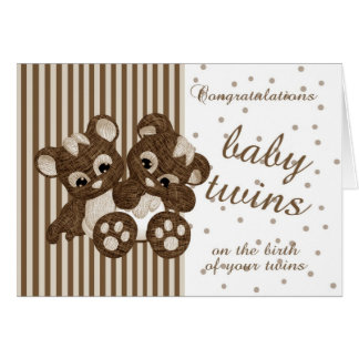 New Baby Twins Congratulations - New Baby Card - M