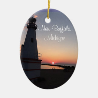 New Buffalo Michigan Sunset Lighthouse Ornament