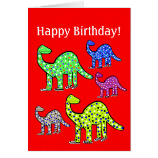 New Dinosaur Cartoon Birthday Card Gift