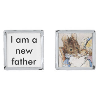 New father silver finish cuff links